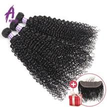 FREE FRONTAL Alimice Kinky Curly Hair Bundles 3 Piece/lot Peruvian Hair Weave Bu - $260.00