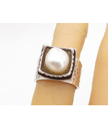 SILPADA 925 Silver - Vintage Pearl Hammered Band Cocktail Ring Sz 6.5 - ... - $38.43
