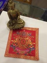 Tibetan Red Auspicious Symbol silk brocade table cover/ altar cloth/ shr... - $13.00