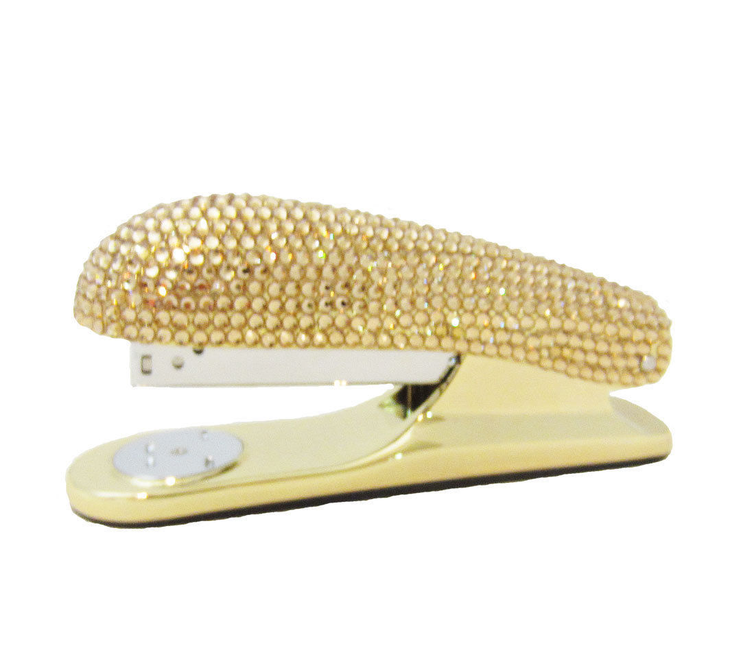 Gold Crystal Stapler & Tape Dispenser Office Desk Set with Swarovski Crystals