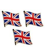 """Lot Of 3 Bandiera Britannica Spilla da Bavero 0.5 """" Inghilterra Union Jack - $6.93"""