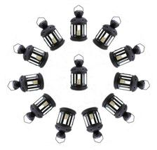 Twelve (12) Colonial star black metal glass hanging candle holder deck l... - $66.00