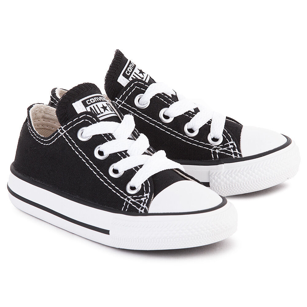 Converse All Star Chuck OX 3J235 Canvas Black Preshool Shoes *NO BOX
