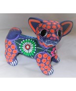 Ceramic Clay Hand-painted Chihuahua Dog Figurine Mexican Folk Art C8 - $19.79