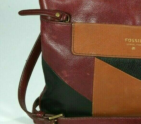 Fossil Ava Flap Crossbody Shoulder Bag Cordovan Brown White Pebbled Purse $158