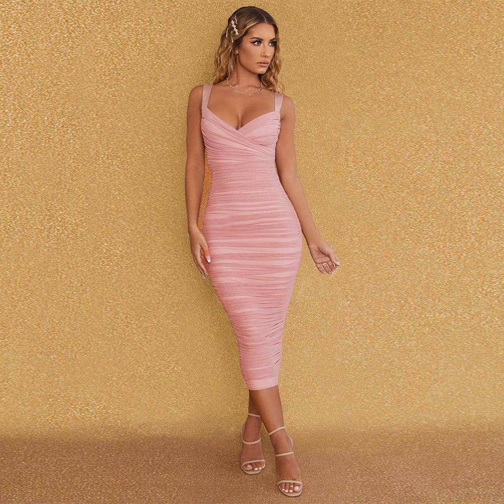 E sexy mesh maxi long bandage dress 2020 new arrival women spaghetti strap bandage dress bodycon