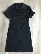 SANDRO FERRONE ROMA Black Button Safari Shirt Dress Short Sleeve Stretch... - $36.47