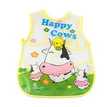 PANDA SUPERSTORE Creative Zoo Cow Pattern Children Smocks Waterproof Aprons Kitc