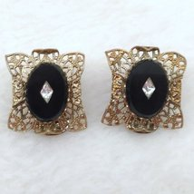Onyx and Filigree Gold Tone Clip On Earrings with Faux Diamond look Center Inlay image 1