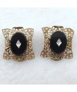 Onyx and Filigree Gold Tone Clip On Earrings with Faux Diamond look Cent... - $24.99