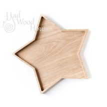 Handmade Christmas  star shape plate from oak is the best for serving sn... - $31.00