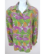 Lightweight Silk Blouse Size XL Button Front Lo... - $15.00