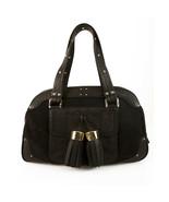 Luella Bernie Bowling Bag Black Bowler Style Bag Pony Fur Leather Hand Bag - $372.20