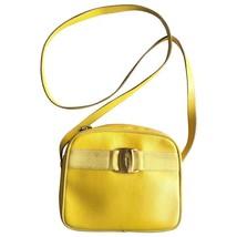 Vintage Salvatore Ferragamo lizard embossed yellow leather shoulder bag ... - $322.00