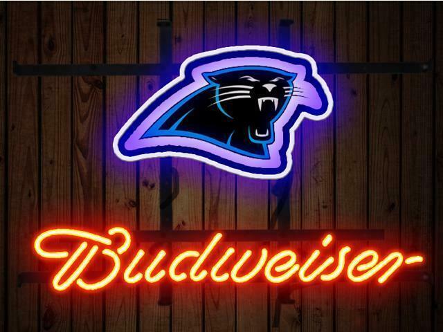 "Budweiser Carolina Panthers Neon Sign 14""x10"" Beer Bar Light Artwork Gift"