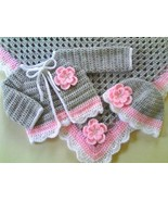 Crochet Pattern Baby Blanket, Cardigan and Hat Set, PDF file #52 - $1.89