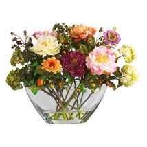 Mixed Peony w/Glass Vase Silk Flower Arrangement - $83.25