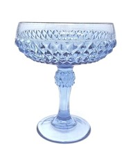 "PEDESTAL CANDY DISH 7.5"" Blue Indiana Glass Diamond Point Compote Bowl V... - $12.50"