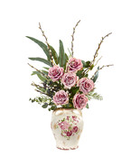 Rose, Eucalyptus And Pussy Willow Artificial Arrangement In Floral Print... - $91.99
