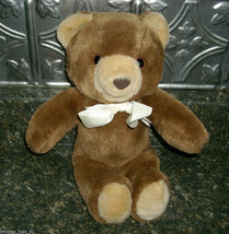 "VINTAGE ""LUSH PLUSH"" BROWN TEDDY BEAR STUFFED ANIMAL 1985 COMMONWEALTH T... - $23.38"