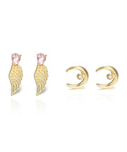 Gold Crescent Moon Earrings & Gold Wings Ear Climbers - Gold Upside Down Horn  - $14.06