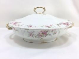 Gda France Ch Field Haviland Limoges Pink Rose Oval Bowl Lidded Gold Bow Ribbon - $59.35