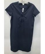 NWT J.Crew Lace Up Cotton Shirt Dress Navy Blue Sz XS Style H9353 - $34.62