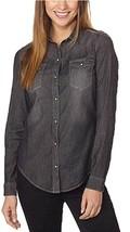 Calvin Klein Jeans Women's Denim Snap Button Long Sleeve Shirt (Black, S... - $14.99