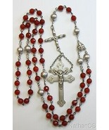 1908 Antique Sterling and Carnelian Lorraine Catholic Rosary Extreme Rarity - $638.55