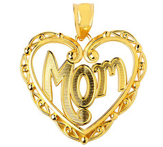 Mother's Day Fine 14k Yellow Gold Mom Charm Pendant with Fancy Open Hear... - $130.49