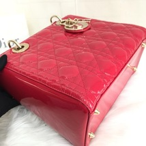 Authentic Christian Dior 2017 Lady Dior Medium Red Patent Shoulder Tote Bag GHW image 5