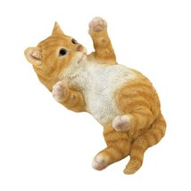 Orange Tabby Kitty Cat in Motion Laying on His Back Garden Figurine  - $27.49