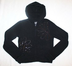 Justice Girls Hoodie Jacket Sz 8 Black Jersey Knit Sequin Zip Up School ... - $19.79