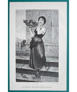 ITALIAN GIRL Young Maiden Selling Flowers - VICTORIAN Era Print - $16.20