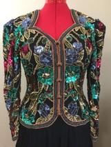 Black Tie Silk Gown Hand Beaded Dress Multicolor Sequin Full Circle Vtg ... - $359.10