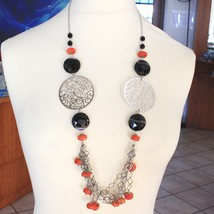 925 Silver Necklace, Agate Faceted Disc, Coral, Medallion, 80 cm image 1