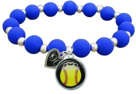 Custom Softball Princess Silicone Stretch Bracelet Choose Number & Color... - $14.24