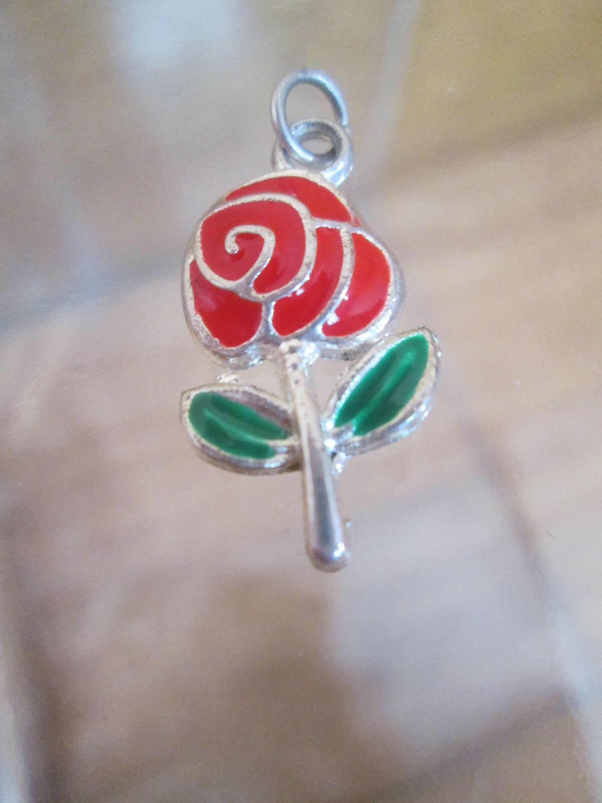Silver Bracelet Charm  RED ROSE  Vintage Cloisonné Style Enamel 1980s