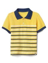 Gap Kids Boy Polo Shirt 5 Cotton Striped Yellow White Navy Blue Short Sl... - $16.78