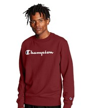 Men's Champion Powerblend Script Cherry Red Crewneck Sweatshirt Adult Large - $34.64