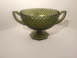 Westmoreland English Hobnail 8 inch bowl 2 handles hexagonal foot vintag... - $98.99