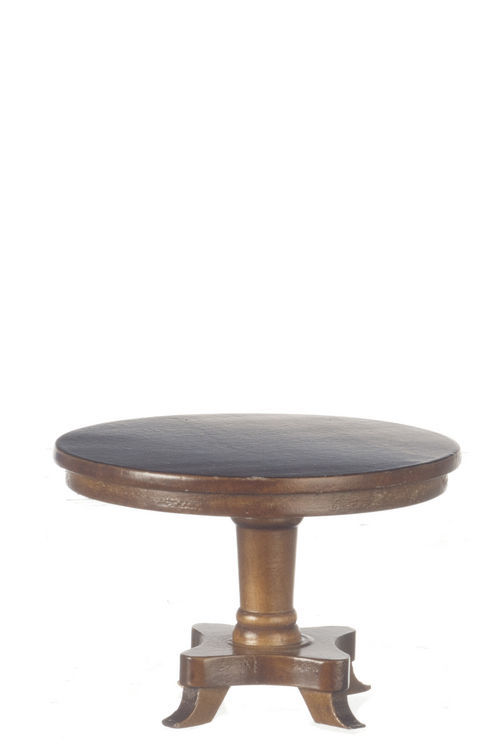 DOLLHOUSE MINIATURES WALNUT ROUND TABLE #T6461
