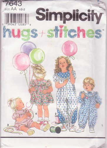 Simplicity Pattern 7643 Hugs and Stitches Size AA 1-2 Baby Toddler Jumpsuit Dres