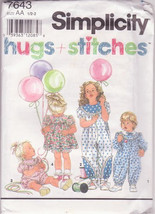 Simplicity Pattern 7643 Hugs and Stitches Size AA 1-2 Baby Toddler Jumps... - $12.00