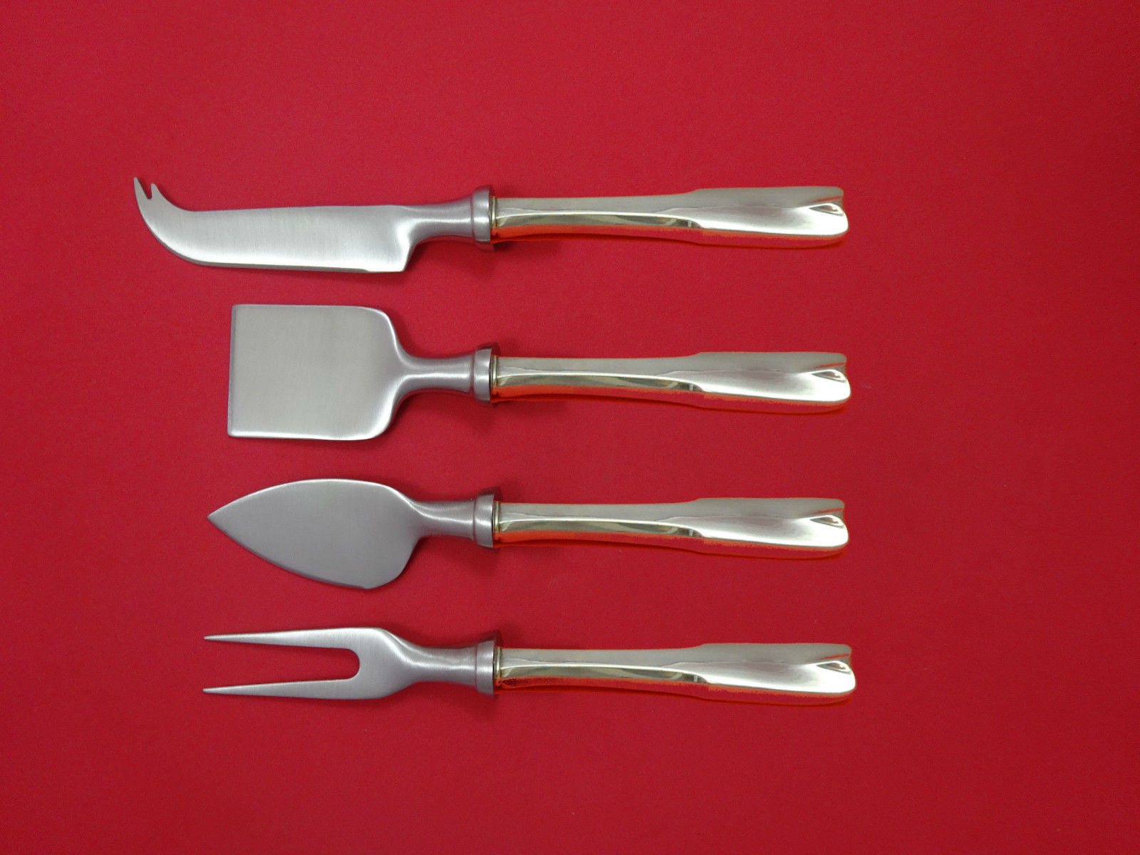 Primary image for Colonial Theme by Lunt Sterling Silver Cheese Serving Set 4 Piece HHWS  Custom