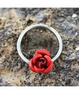 316L Stainless Steel Red Rose Snap-in Captive Bead Ring / Septum Ring - $11.16+
