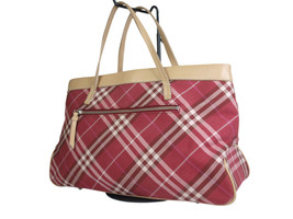 Authentic Burberry London Blue Label Canvas Leather Red Tote Bag BT17453L - $169.00