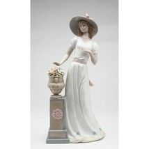 """Beautifully detailed new 10 1/4"""" Lady By Flower Pedestal porcelain figurine - $94.05"""