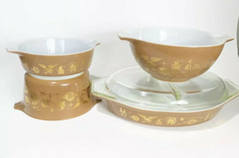 Vintage Pyrex Early American Casserole Bowl Set Divided Dish Brown Gold Nice - $38.69