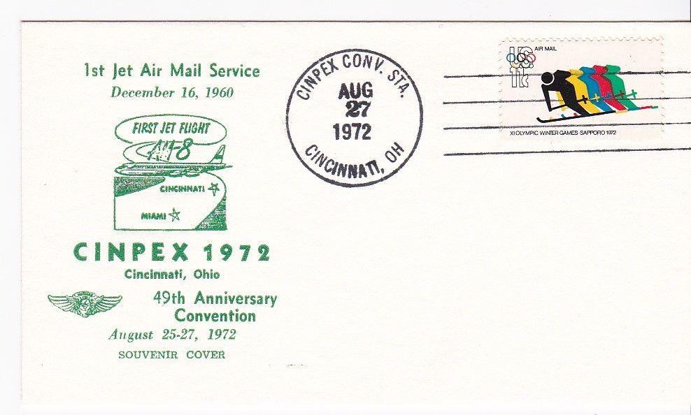 1st JET MAIL SERVICE SOUVENIR COVER CINPEX 1972 CINCINNATI OH 8/27/1972